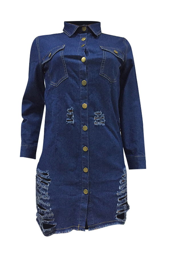 Lovely Euramerican Broken Holes Deep Blue Denim Mini Dress
