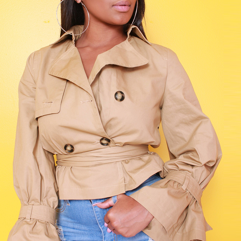 Lovely Casual Buttons Design Lace-up Khaki Cotton Coat
