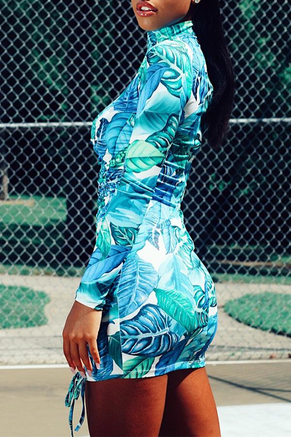 Lovely  Euramerican Printed Slim Light Blue Mini Dress (Batch Print)