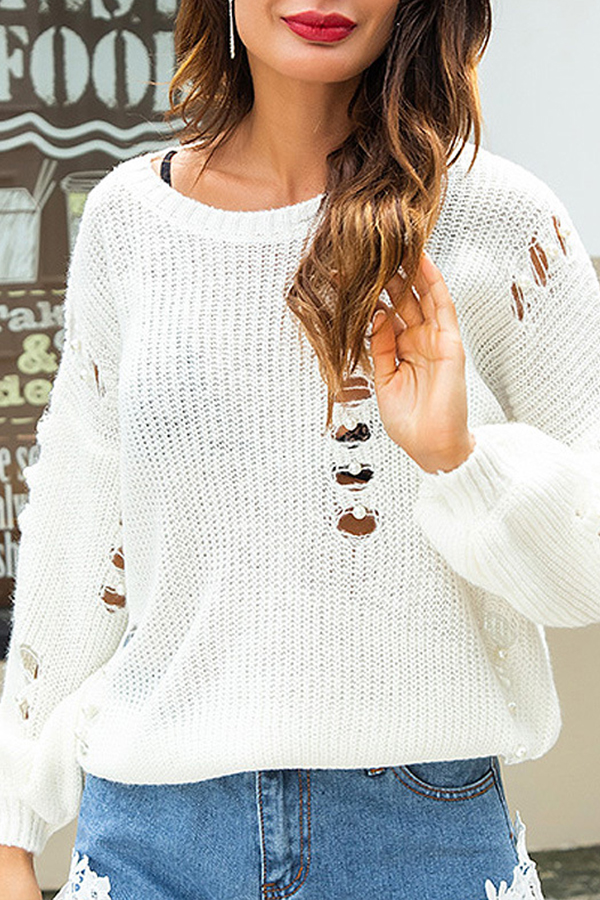 Lovely Euramerican Ripped White Sweaters