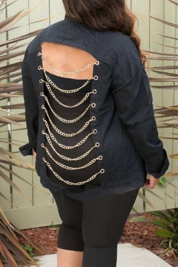 Lovely Chic Hollowed-out Chian Design Black Denim Coat