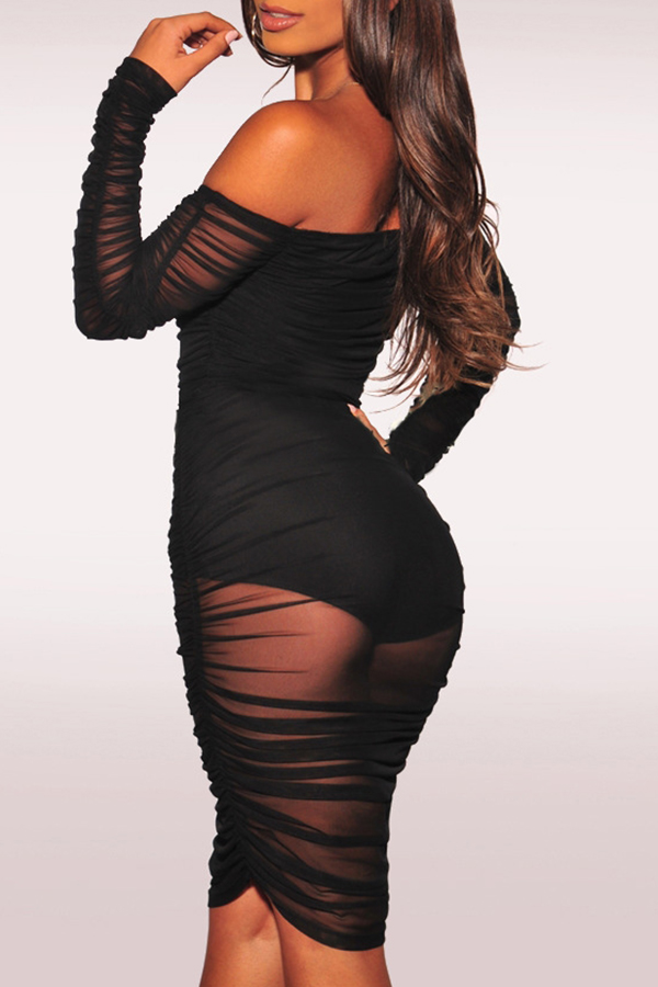Lovely Sexy Hollowed-out Slim Black Knee Length Dress