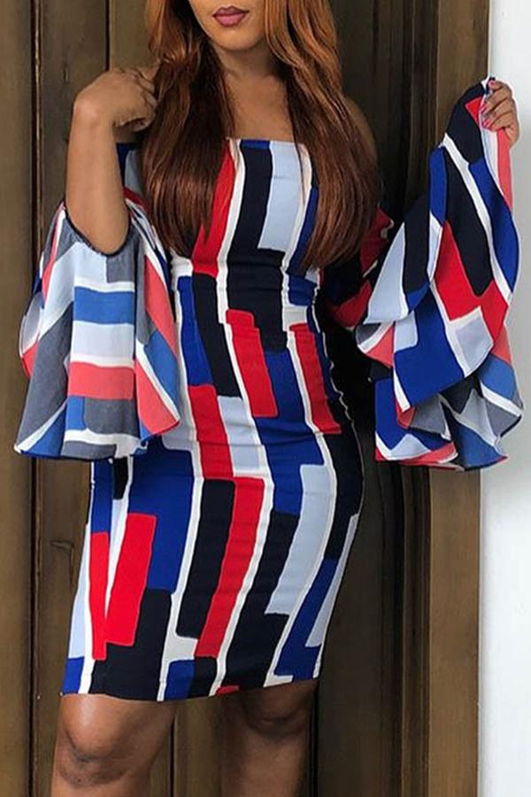 Lovely  Euramerican Patchwork Trumpet Sleeves Multicolor Twilled Satin Knee Length Dress