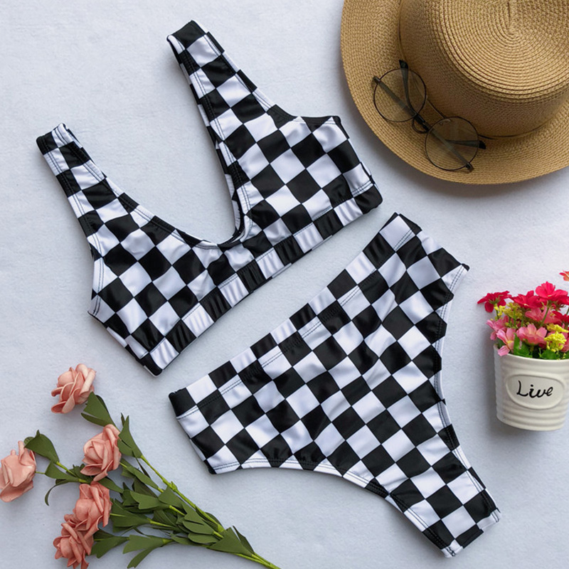 Lovely Casual Grids Printed Black & White Tartan Plaid Two-Piece Swimwear Set