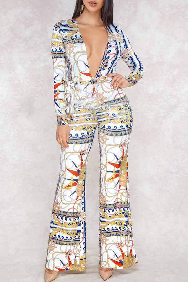 Lovely  Euramerican Printed Loose White One-piece Jumpsuit