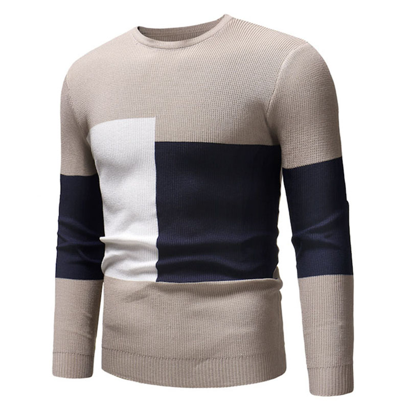 Lovely Casual Patchwork Apricot Cotton Sweaters