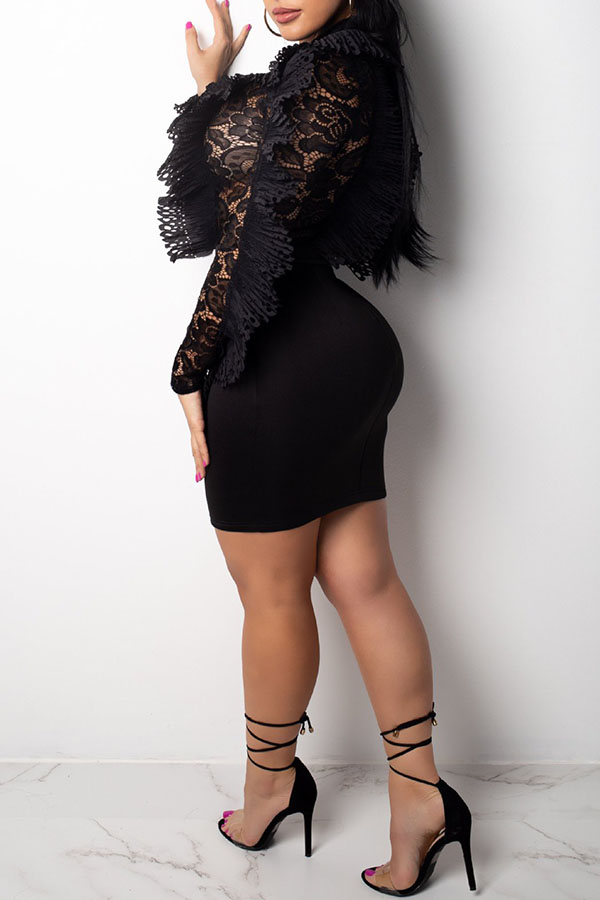 Lovely Elegant  Patchwork See-through Black Lace Mini Dress