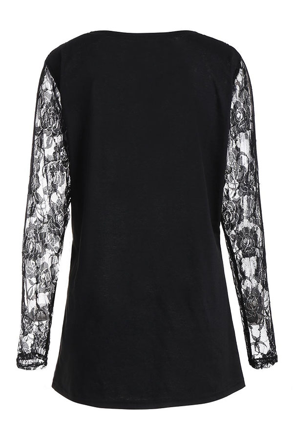 Lovely Euramerican Patchwork Printed Black T-shirt