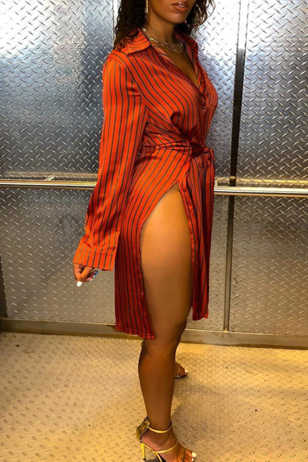 Lovely Casual Striped Side Slit Wine Red Blending Mini Dress