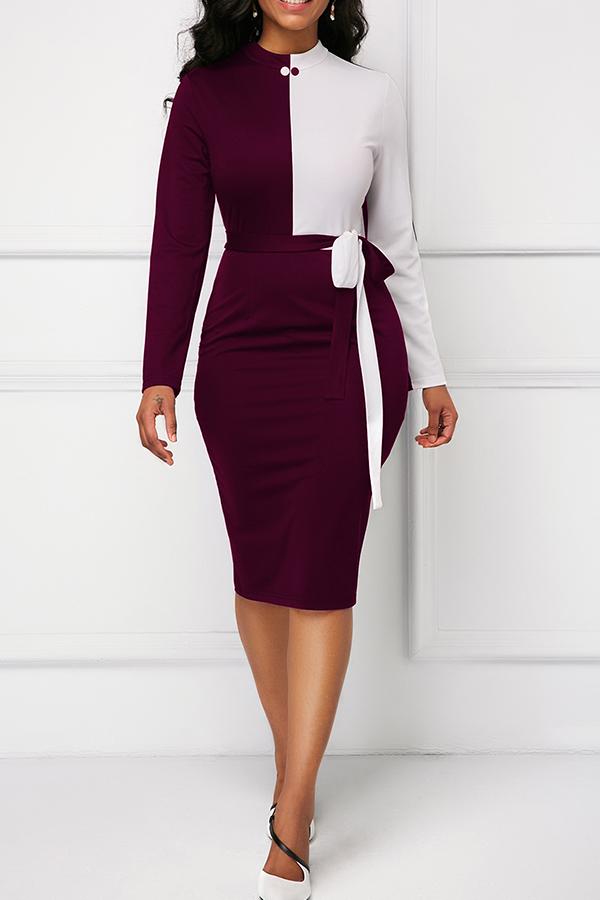 Lovely Elegant Patchwork Red Knee Length Dress