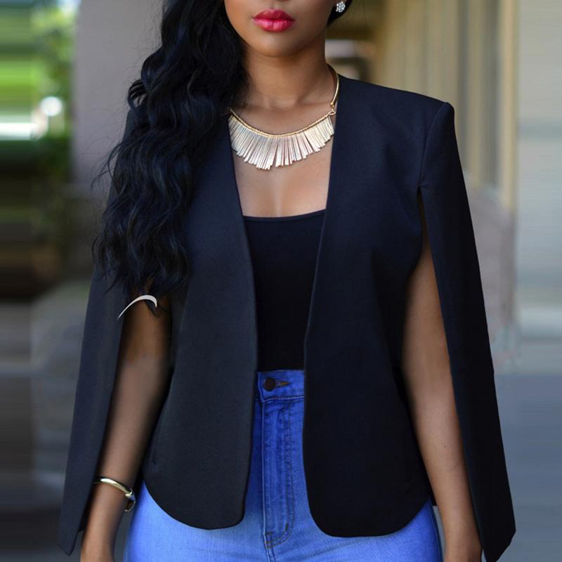 Blazer&Suits Lovely Temperament Cape Design Black Blazer фото