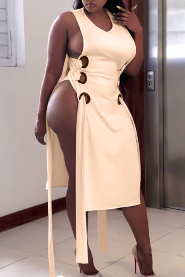 Lovely  Sexy Tank Sleeveless Beige Mid Calf Dress