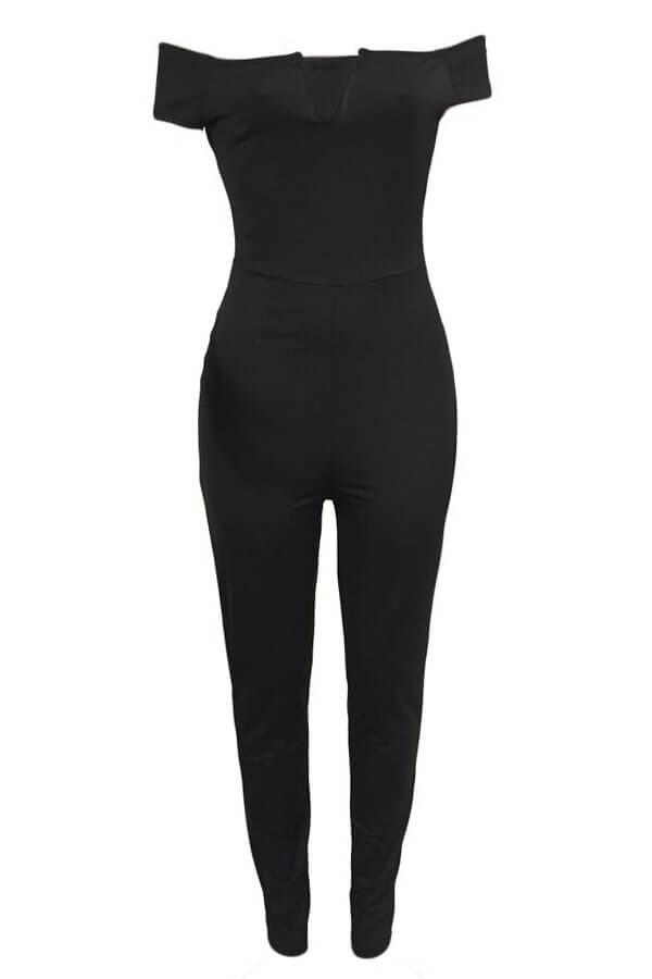 Lovely Euramerican Dew Shoulder Skinny Black One-piece Jumpsuit