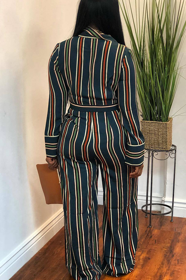 Lovely  Casual Striped Blackish Green Twilled Satin One-piece Jumpsuit