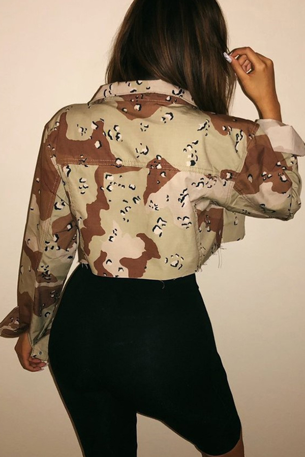 Lovely Euramerican Camouflage Printed Jacket