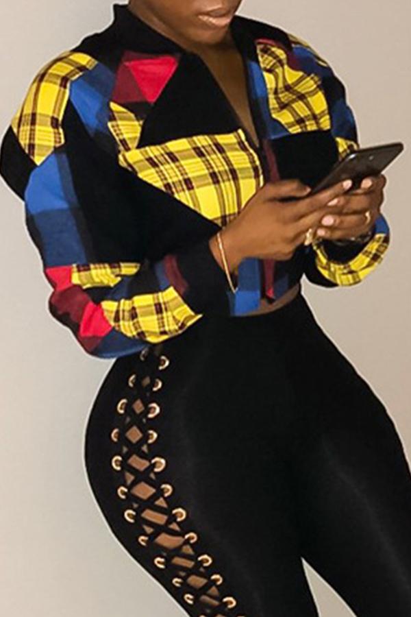 Lovely Euramerican Long Sleeves Multicolor Jacket