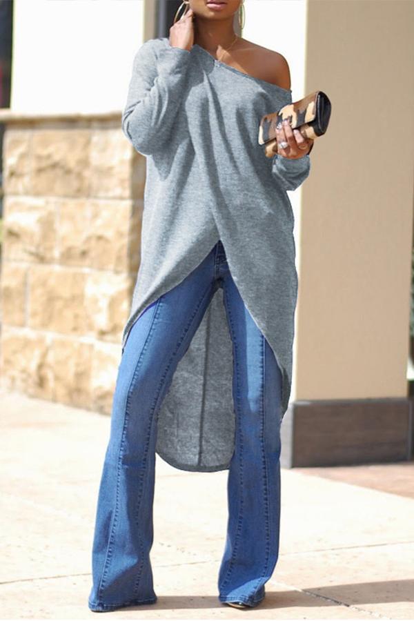 Blusas Grises De Hombros Asimétricos Encantadores De Moda Encantadora