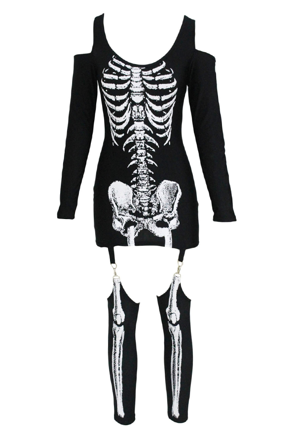 Lovely Euramerican Skull-head Printed Skinny Black Cosplay Costumes