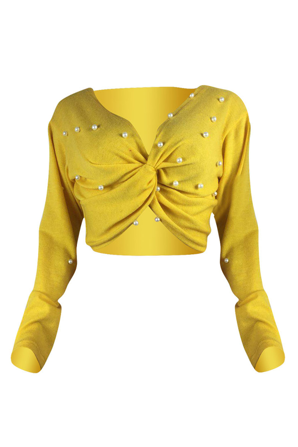 Lovely Acrylic Fashion Beading Short Long Sleeve V Neck  Sweaters & Cardigans