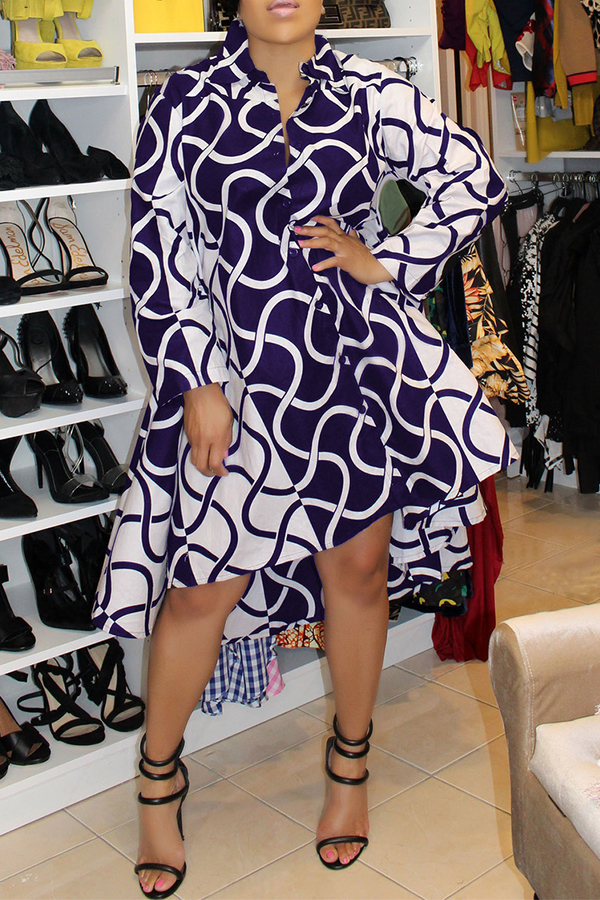 Lovely Casual Printed Patchwork Blue Mid Calf Dress