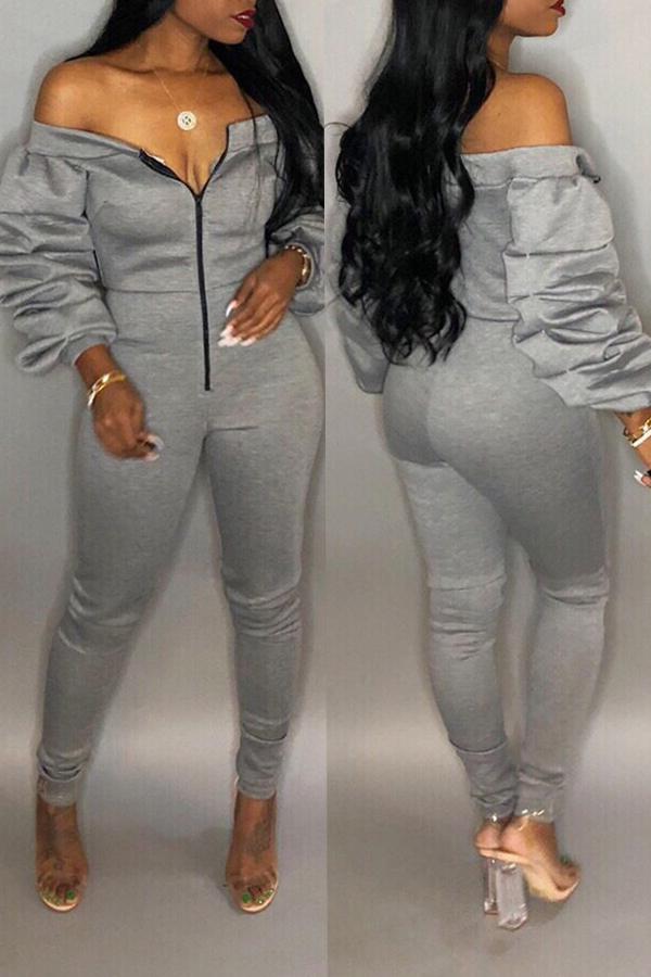 Lovely Trendy Dew Shoulder Skinny Grey Cotton One-piece Jumpsuit