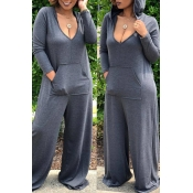 Lovely Euramerican Hooded Collar Loose Grey One-piece Jumpsuit