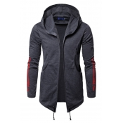 Lovely Casual Hooded Collar Deep Blue Cotton Cardi
