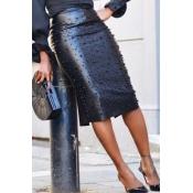 Lovely Vogue Nail Bead Design Slim Black PU Knee L