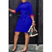 Lovely Casual Patchwork Slim Blue Knee Length Dress