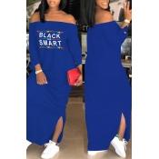 Lovely Euramerican Dew Shoulder Letters Printed Blue Ankle Length Dress