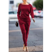 Lovely Trendy Pockets Wine Red Blending Two-piece Pants Set