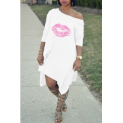 Lovely  Fashion  Asymmetrical Printed White Blending Mid Calf Dress