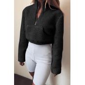 Lovely  Casual Long Sleeves Pocket Black Hoodies