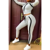 Lovely Sportswear Striped Grey Two-piece Pants Set