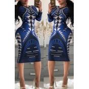 Lovely Casual Geometric Printed Slim Deep Blue Knee Length Dress