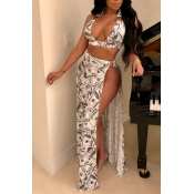 Lovely Casual Side High Slit Printed White Two-pie
