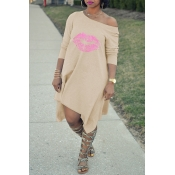 Lovely Fashion Asymmetrical Printed Apricot Blending Mid Calf Dress