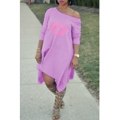 Lovely Fashion Asymmetrical Printed Purple Blending Mid Calf Dress