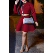 Lovely Sweet Long Sleeves Wine Red Two-piece Skirt Set