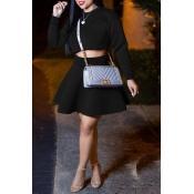Lovely Sweet Long Sleeves Black Two-piece Skirt Set