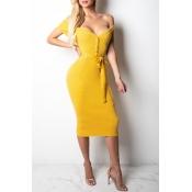 Lovely Euramerican Dew Shoulder Slim Yellow Modal