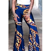 Lovely Euramerican Printed Flares Dark Blue Pants