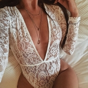 Lovely Sexy Hollowed-out White Bodysuit