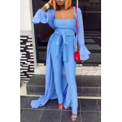 Lovely Casual Long Sleeves  Blue  Two-piece Pants Set