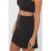Lovely Euramerican Striped Black Cotton Mini Skirt