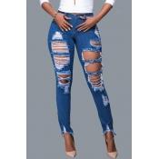 Lovely Vogue Broken Holes Blue Denim Jeans