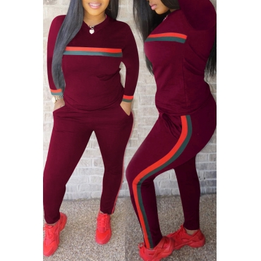 Lovely Casual Striped Wine Red Blending Two-piece Pants Set