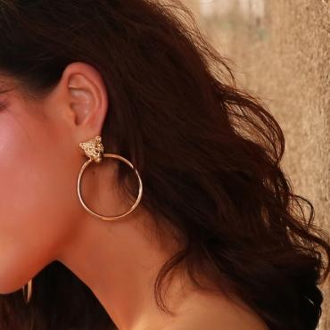 Lovely Fashion Leopard-head Golden Metal Earring