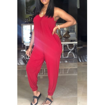 Lovely  Casual Loose Red Blending One-piece Jumpsuit