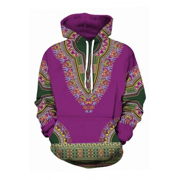 Lovely Ethnic Drawstring Printed Purple Hoodies